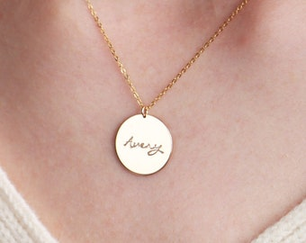 Personalized Disc Necklace \u2022 Large Disc Necklace \u2022 Engraved Necklace \u2022 Name Necklace \u2022 Personalized Mother/'s Day Gift \u2022 Custom Necklace
