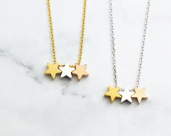 Three Star Necklace RN109 • Gold Necklace, Dainty Necklace, Delicate Necklace, Mixed Metals Necklace, Layering Necklace, Simple Necklace