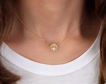 Lotus Necklace N15 • Gold Lotus Necklace, Delicate Necklace, Floral Necklace, Namaste Necklace, Gift For Her, Dainty Necklace, Lotus Outline