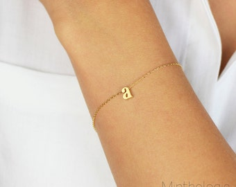 Initial Bracelet B1 • personalized lowercase monogram dainty delicate stacking bridesmaids gift
