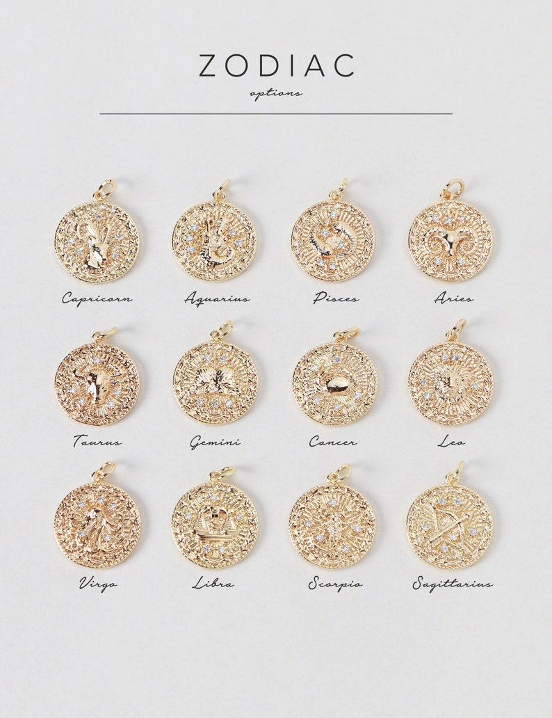 Zodiac Constellation Necklace NZ3 \u2022 CZ Horoscope Astrology Celestial Capricorn Aquarius Gemini Leo Virgo Libra Bridesmaid Gift For Her