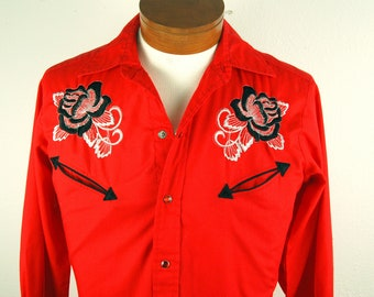 7cbe21942a9 Vintage 1970s Mens S Embroidered Rose Red Western Shirt Pearl Snap H Bar C  California Ranchwear Clothing Cowboy Long Tail Shirts for Men