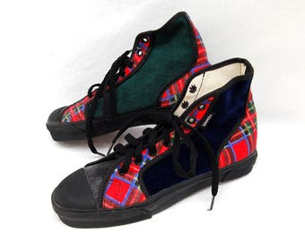54b22a41bcd779 Rare Vintage 1980s VANS Plaid Hi Top Sneakers for Women Womens Shoes size  7.5 USA Made 80s 90s Tennis Shoes Clothing