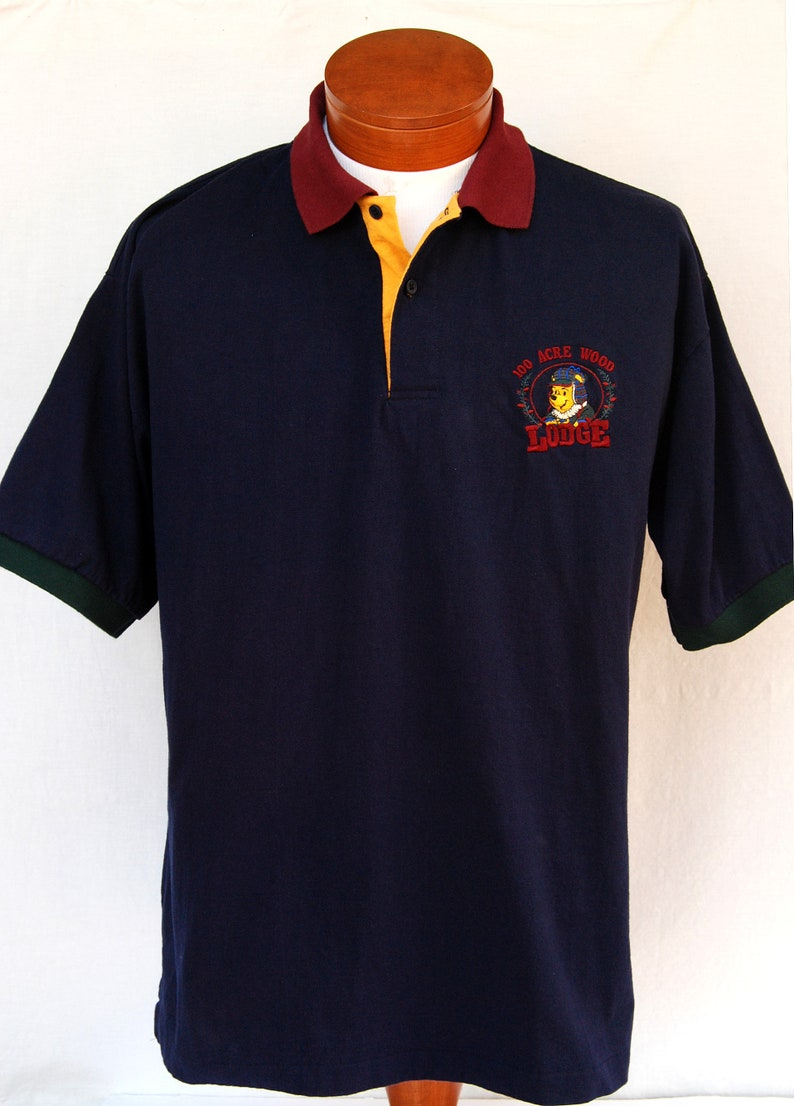 Vintage 90s Winnie the Pooh 100 Acre Wood Lodge Polo Shirt Mens Shirts Disney Store XL Clothing Fathers Day Gifts