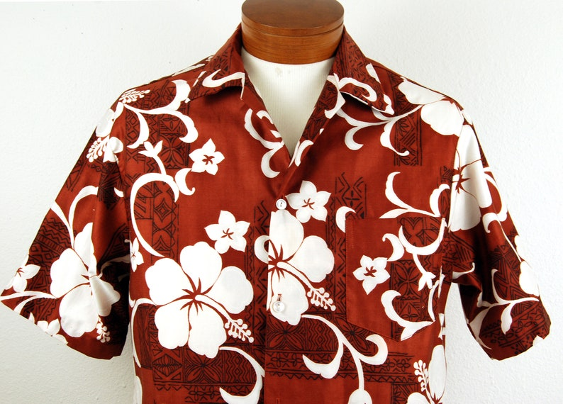 9a9afc6a49 Vintage 70s Hilo Hattie Rust Brown Hibiscus Hawaiian Shirt Mens L 1970s  Clothing Shirts for Men
