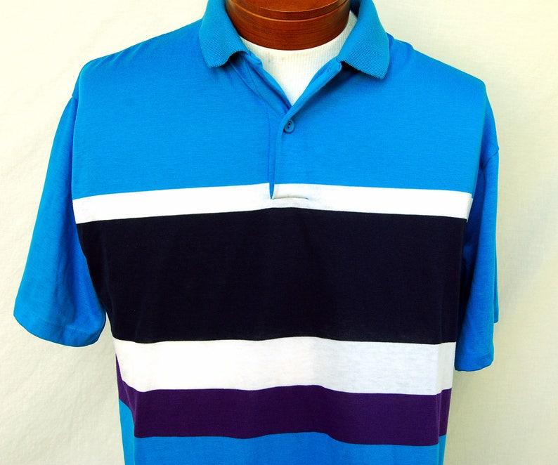 a1bf93d0602 Vintage 90s Color Block Polo Shirt Mens Blue Purple Striped | Etsy