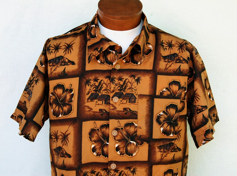 b968ab3db Vintage Brown Hibiscus Hawaiian Shirt for Men Tiki Button Down | Etsy