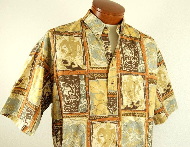 Vintage Tiki Print Pullover Hawaiian Shirt Mens Large 90s Clothing for Men Aloha Shirts L by Cooke Street