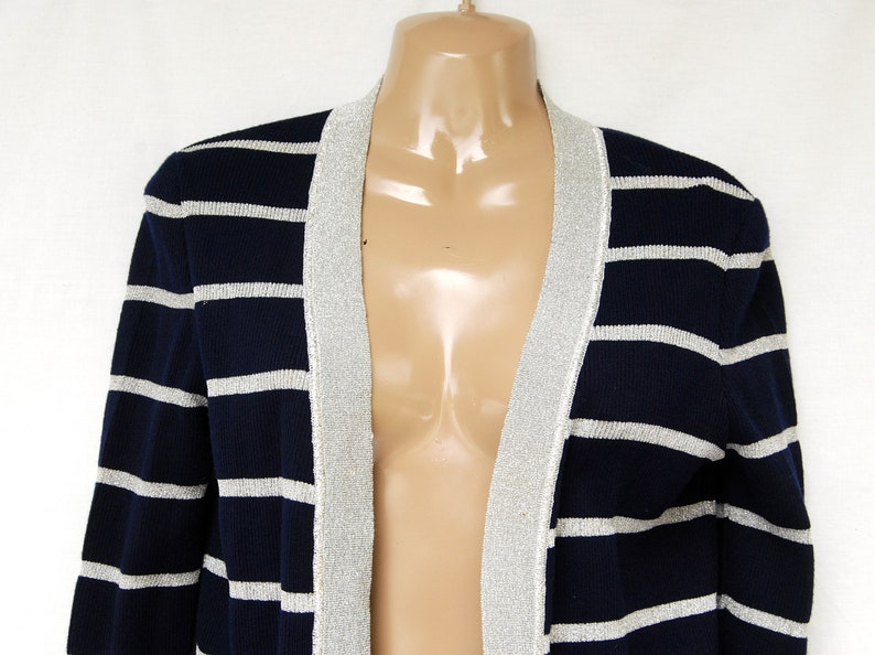 05ef61983aec35 Vintage Metallic Sparkly Knit Striped Cardigan Sweater Women | Etsy