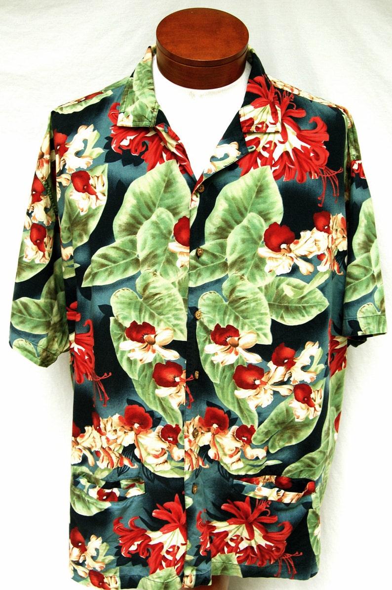 Vtg Ralph Lauren Chaps Hawaiian Shirt Men Rayon Tropical  4cd23b97d980