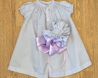 Ready to Smock Lavender Bishop Front Button or  Daygown and Bonnet
