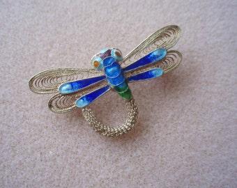 Vintage antique silver filigree cobalt blue and turquoise cloisonne dragonfly brooch