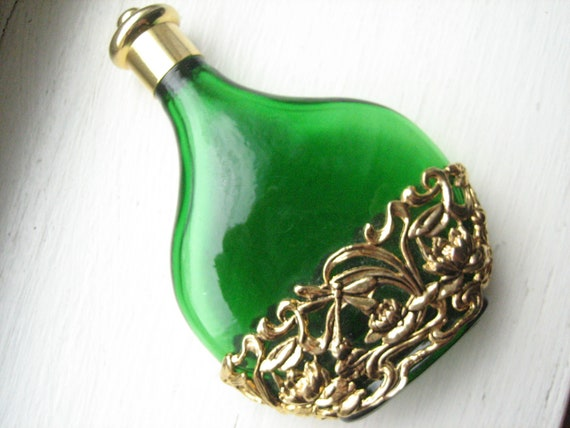 Tall Green Dragonfly Perfume Bottle