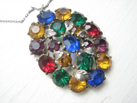 Vintage Czech glass pendant, Czech glass necklace,