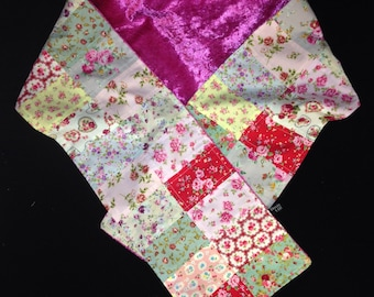 Floral Patchwork Scarf, Roses Scarf, Rosebud Scarf, Floral Scarf, Luxury Scarf, Gifts for Her, Pink Scarf, Ditsy Print Scarf