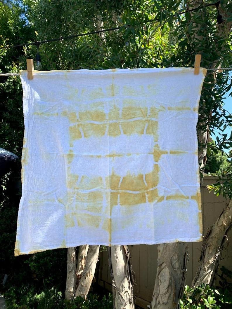 yellow Hand dyed shibori kitchen towel
