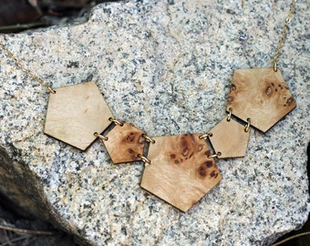 Geometrical Necklace Statement Necklace Scoop Necklace Salvaged WOOD Jewelry GEO NECKLACE