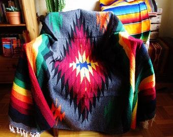 woven  mexican diamond blanket vintage  ethnic mexico hippie festival yoga  beach aztec grey rainbow boho tribal indian navajo handmade