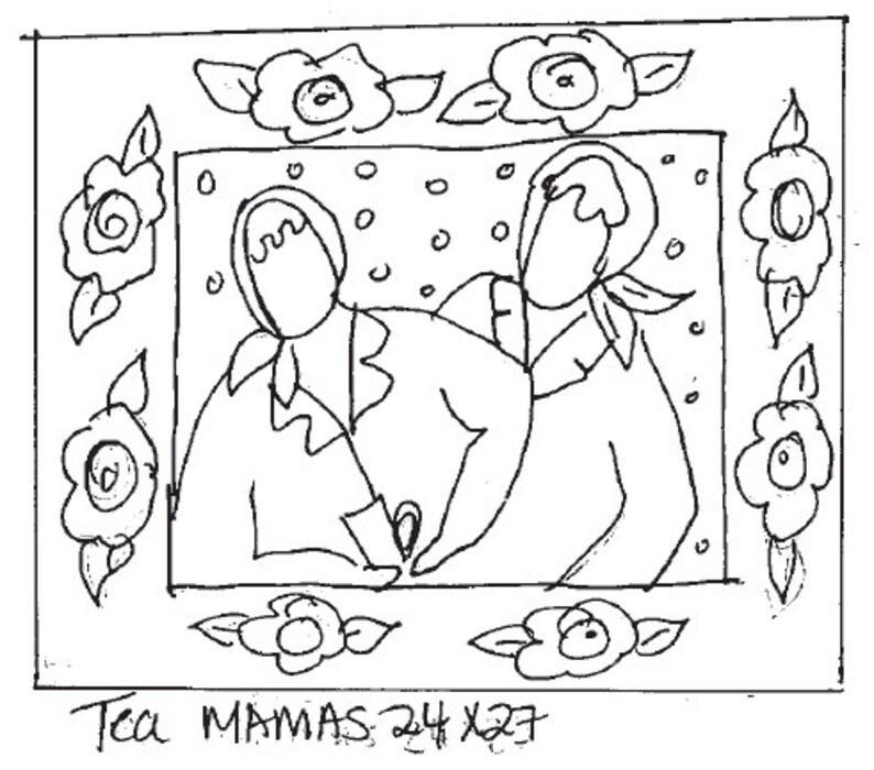 Tea Mamas 24X27 Rug Hooking Pattern