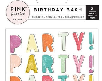 Pink Paislee Birthday Bash Rub-Ons