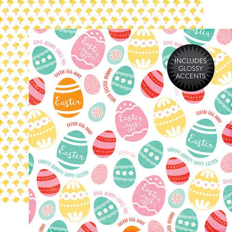 Colored Eggs Echo Park Scrapbook Paper Celebrate Easter