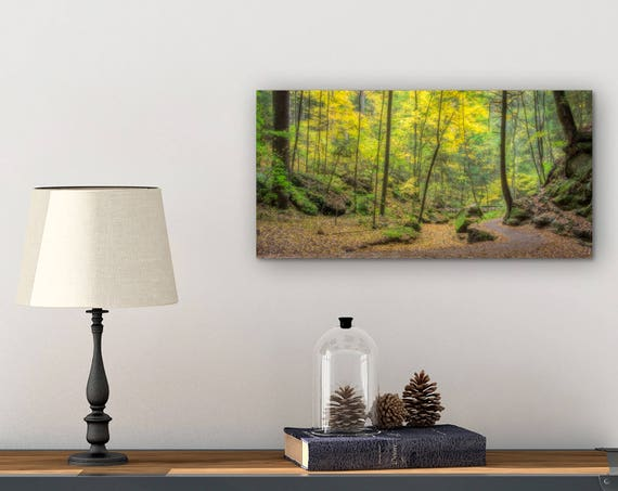 Master Bedroom Decor Canvas Wall Art Autumn Leaves Fall Decor Forest Wall Art Enchanted Forest Nature Lover Gift Ohio Art