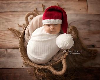 KNIT SANTA HAT Pattern, newborn Santa hat knitting pattern, Christmas knitting patterns for babies, knit patterns props