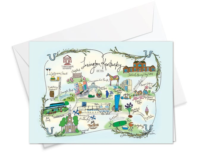 Lexington, Kentucky Decorative Map Card