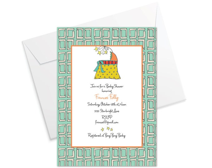 Bassinet Baby Shower Invitation - Teal or Pink