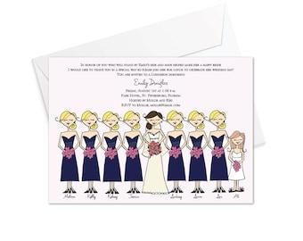 Bridesmaids all in a Row Invitation