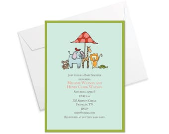Lil' Animals Baby Shower Invitation