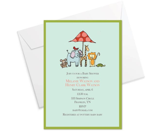Lil Animals Baby Shower Invitation