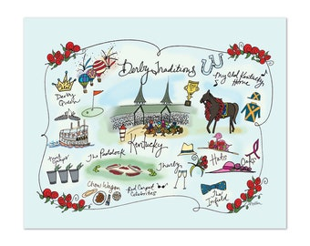 Derby Traditions Decorative Map Poster