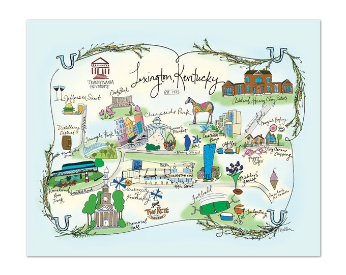 Lexington, Kentucky Decorative Map Poster