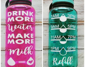 Drink more Water Make More Milk - 34 OZ. Jug, Water tracker, New mom gift, baby shower gift, breastfeeding, normalize breastfeeding