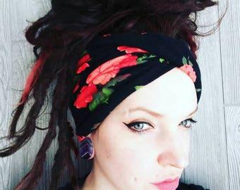 Floral Wide headband -  Scrunch headband, boho headband, beanie, turban, dreadlock wrap, yoga headband, ear warmer, non slip
