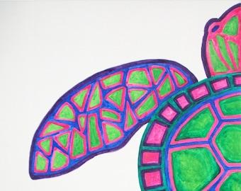 Original Sea Turtle Watercolor Painting, Turtle Art, Sea Turtle Wall Decor, Abstract Sea Turtle Art, Sea Turtle Art, Ocean Art, Turtle