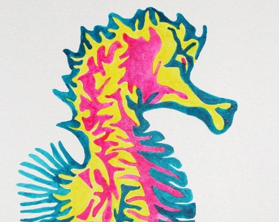 Original Abstract Seahorse Watercolor Painting, Beach Wall Decor, Ocean Wall Art, Nautical Decor, Watercolor Seahorse, Beach Art