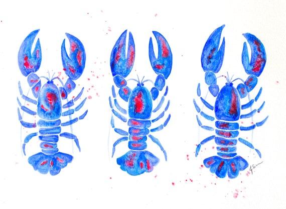 Lobster Trio Watercolor