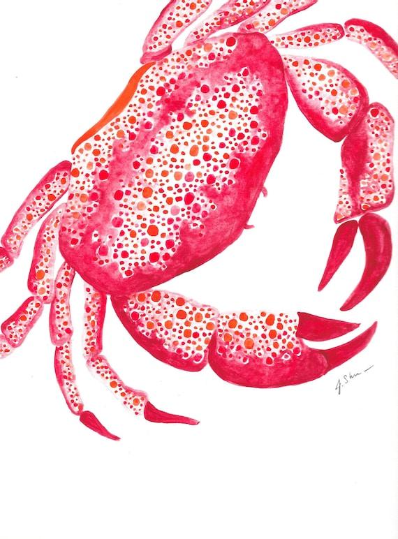 Red Crab Watercolor
