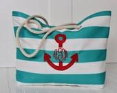 Beach Tote Bag - Large Monogrammed Tote Bag - Bridesmaid Gift - Pool, Beach Bag - Diaper Bag - Personalized Bag