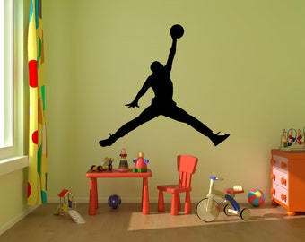 cheap for discount b23d2 9e69a Michael Jordan Wall Decal -Jumpman Decal-Basketball Wall Decal-boys room  decal Silhouette Wall Decal-Wall Art-Vinyl Wall Decal AS  38
