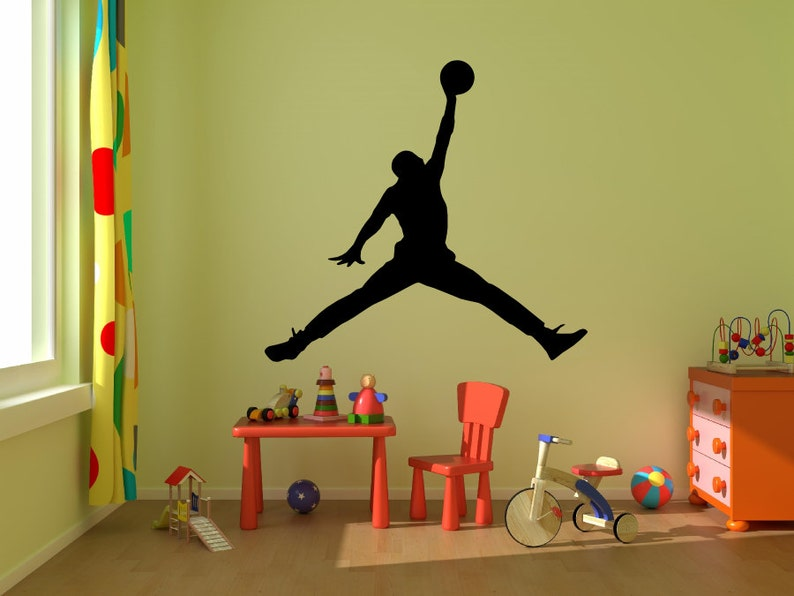 sports shoes 87537 2fd9a Michael Jordan Wall Decal Jumpman Decal-Basketball Wall   Etsy