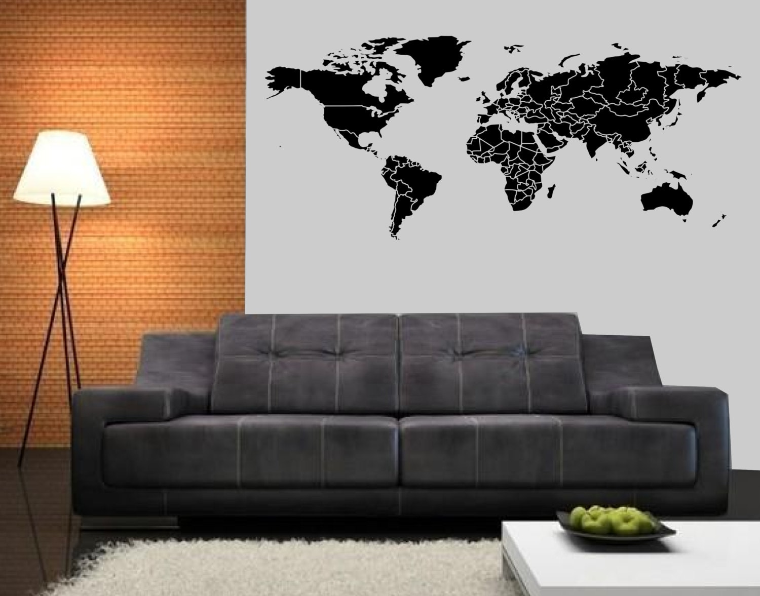 60 In Wide World Map Large Wall Decal Office Nursery Living Room Wall Decal World Map Vinyl Wall Decor Home Interior Design Art Mural