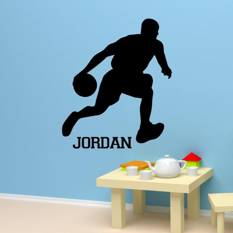 the best attitude 6f8c2 775c4 Michael Jordan Jump man Silhouette Basketball Wall Art Custom   Etsy