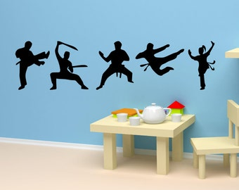 Karate Positions Karate Decal Kung Fu Martial Arts Sticker set of 5 Kids Wall Decal AS@96