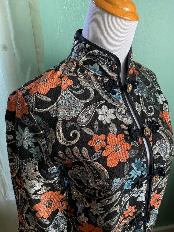 Vintage Mandarin Collar Metallic Jacket Small