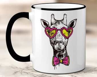 Hipster Giraffe Coffee Mug, Giraffe Coffee Cup, Cool Giraffe Mug, Animal Wearing Glasses, Sublimated 11 oz, Colored Handle & Rim, 4 Colors