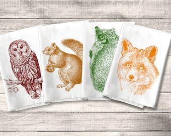 Woodland Critter Forest Animal Towel Flour Sack Towel Kitchen Towel Set, Owl Fox Squirrel Hedgehog, Dish Tea Rustic Decor Housewarming Gift