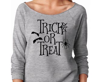 Slouchy Sweatshirt, Halloween Sweater, Trick Or Treat Sweatshirt, Halloween shirt, Trick-Or-Treat Lightweight 3/4 Sleeve Raw Edge Raglan